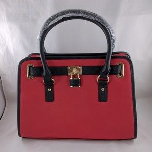 NWT Charming Charlie Women Red Faux Leather Tote